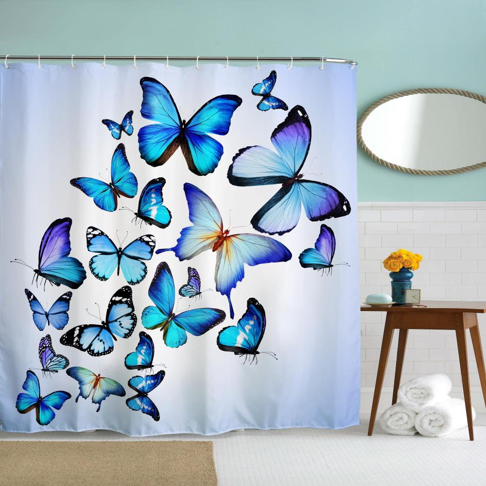 Butterfly Combination Polyester Shower Curtain Bathroom High ...