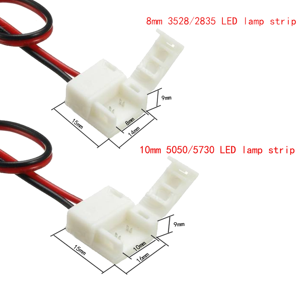 ZDM Female DC Power Connector with 2PIN 8mm / 10mm Single Color Waterproof LED Strip Linker 1PC- White+Black 10MM