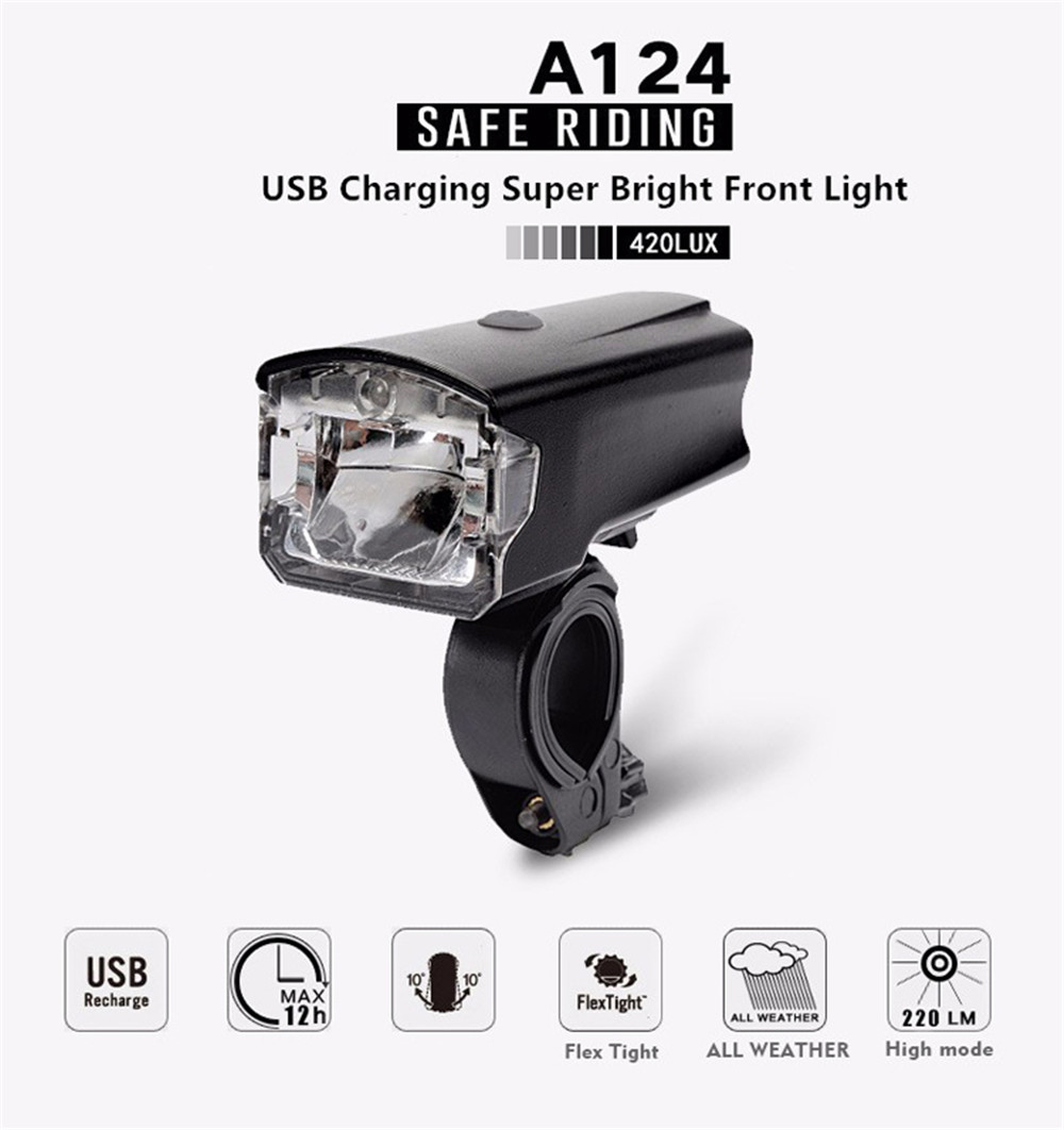 LEADBIKE Bicycle Light USB Rechargeable ABS LED Waterproof MTB Bike Front Flashlight Night Riding Cycling Safe Head Lamp