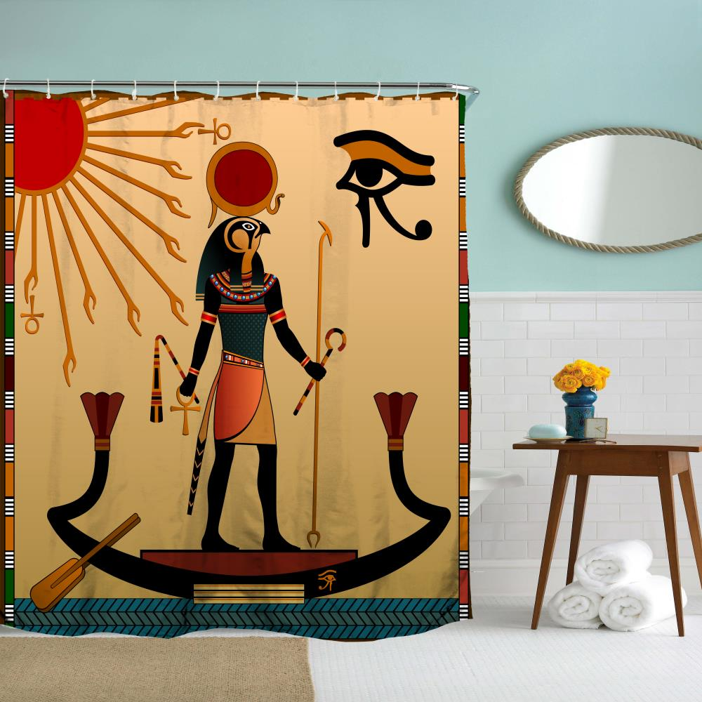 Egyptian Sun God Polyester Shower Curtain Bathroom  High Definition 3D Printing Water-Proof