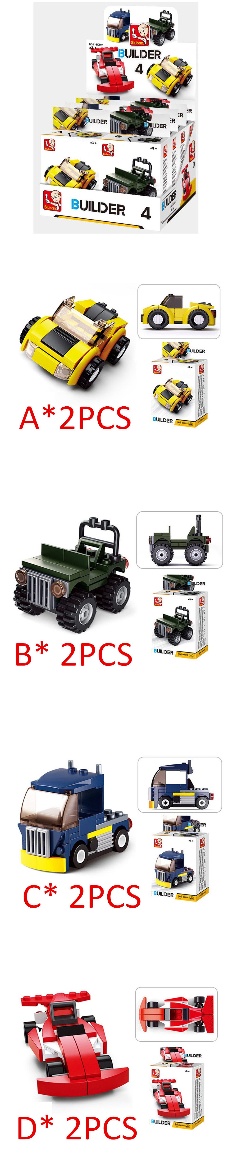 Sluban Building Blocks Educational Kids Toy Models Assorted City Vehicles Set 8PCS ( 392 Peices )