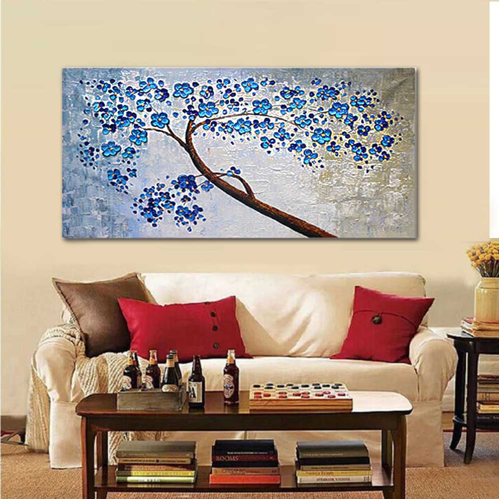 Hand Painted Abstract Thick Impasto Blue Flower Oil Painting Wall