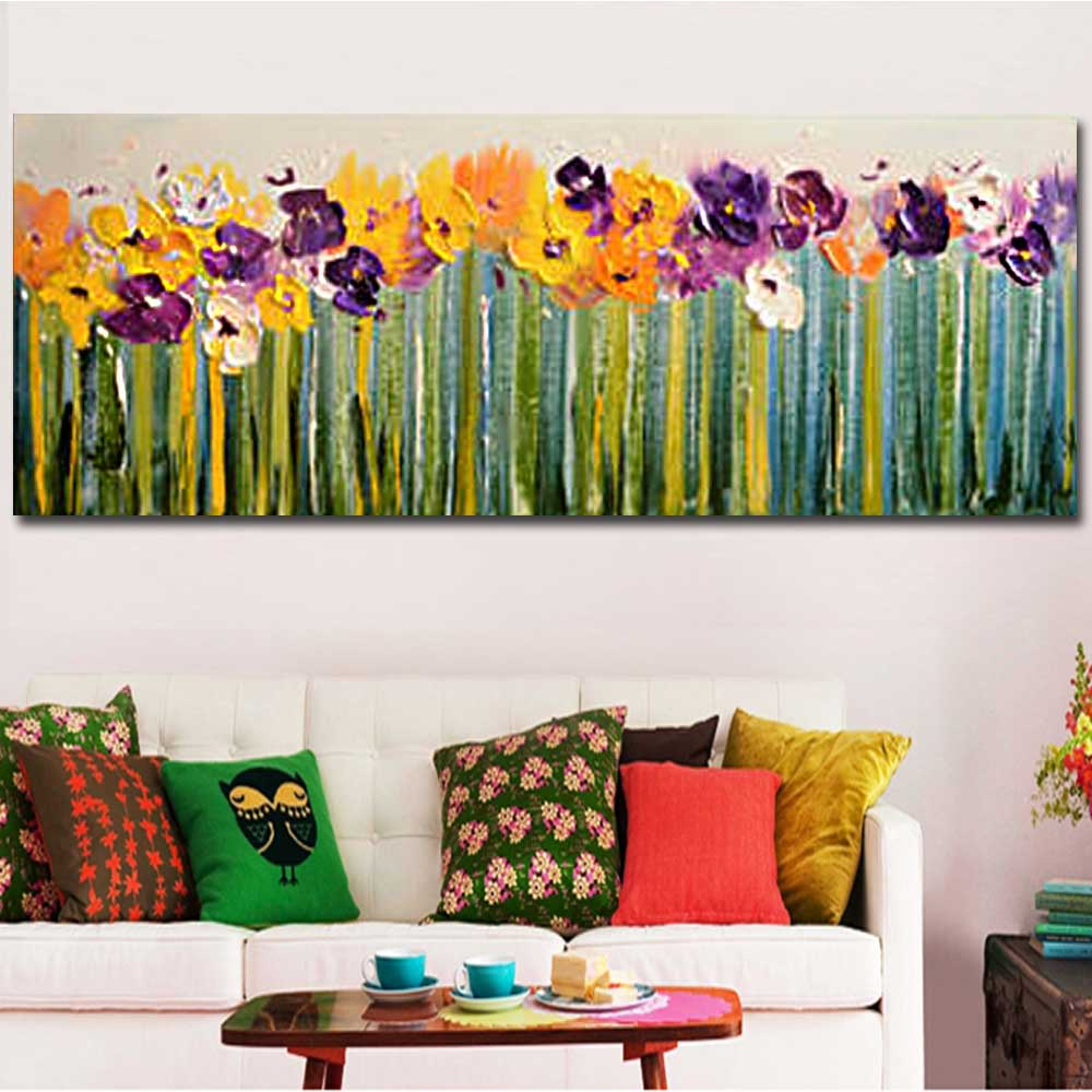 hand painted abstract palette knife flower canvas oil painting