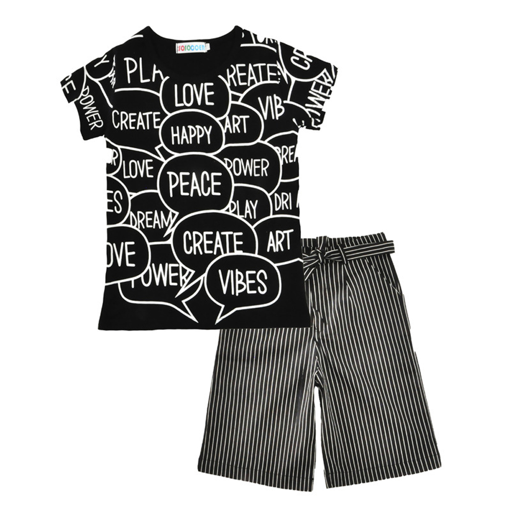 SOSOCOER Kids Girls Clothes Set Fashion Letter Printing Short Sleeved T - Shirt + Striped Broad Leg Pants Two Pieces