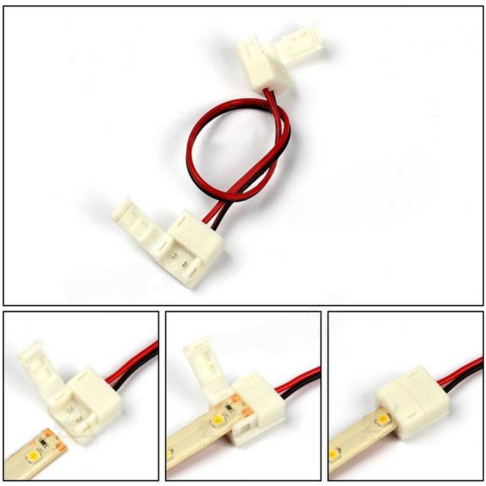 ZDM  8 / 10mm 2 Pin Single Color Waterproof Both Ends LED Strip Connector Line 5PCS- RED+BLACK 8MM