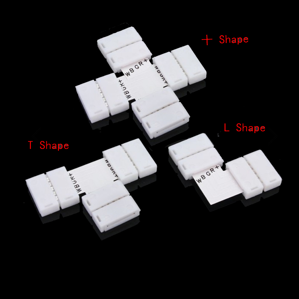 ZDM 1 PC 12 MM Not-Waterproof  FPC  for 5050 RGBW LED Strip Light Connector- Milk White T Shape