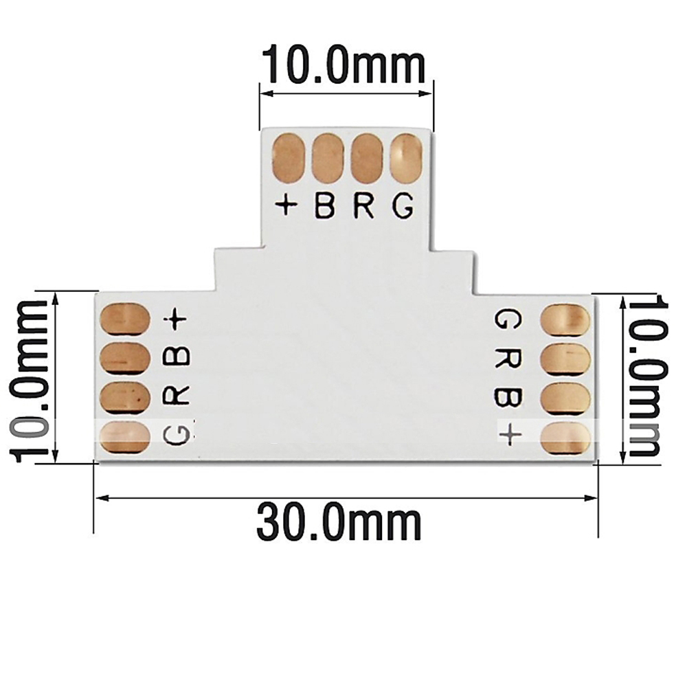ZDM 4 Pin 10MM 3 Shape FPC Connector for 5050 RGB LED Strip Light Connection- White L Shape