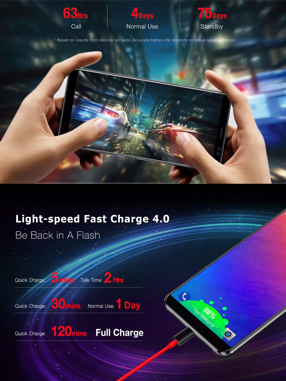 Ulefone Power 3 4G Phablet Android 7.1 6.0 inch MTK6763 Octa Core 2.0GHz 6GB RAM + 64GB ROM Hi-Fi Face Recognition Quad Cameras 6080mAh Battery Corning Gorilla Glass 4 Screen