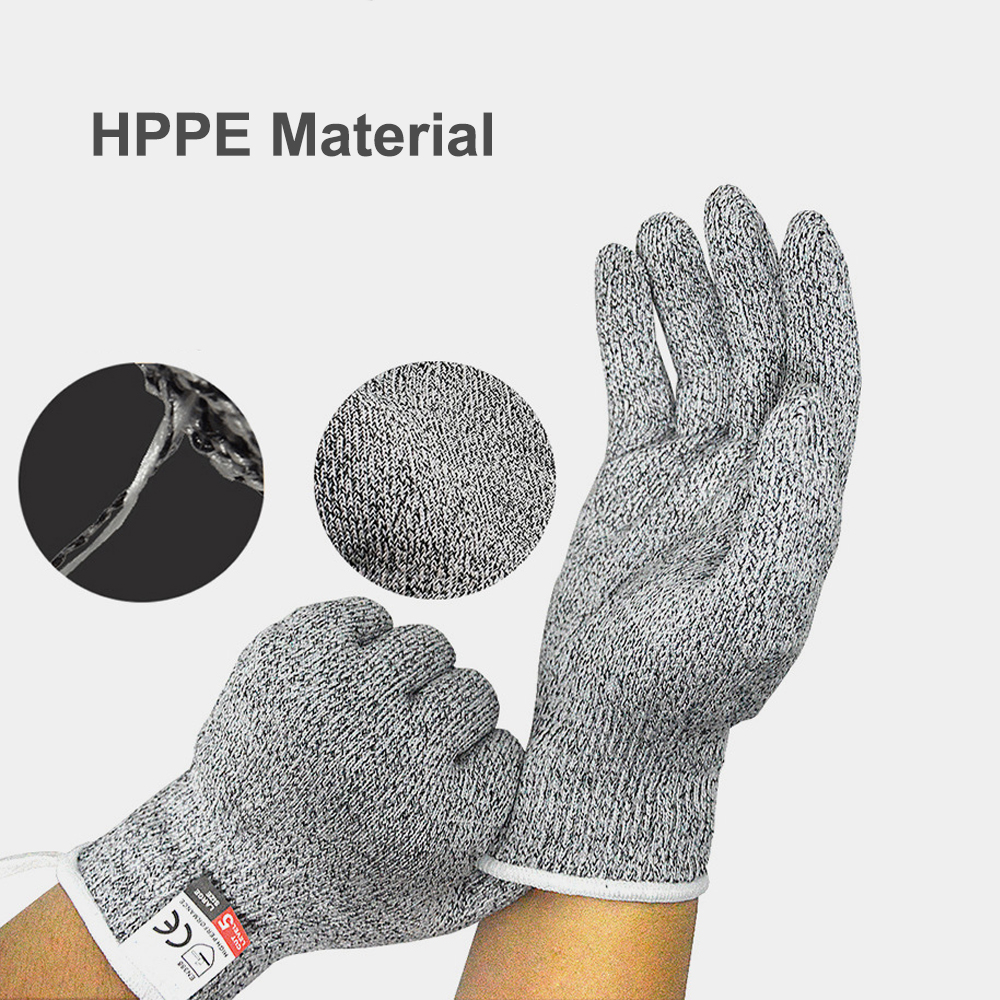 High Performance Level 5 Protection Food Grade Kitchen Hand Safety Cut Resistant Gloves 1 Pair- Battleship Gray