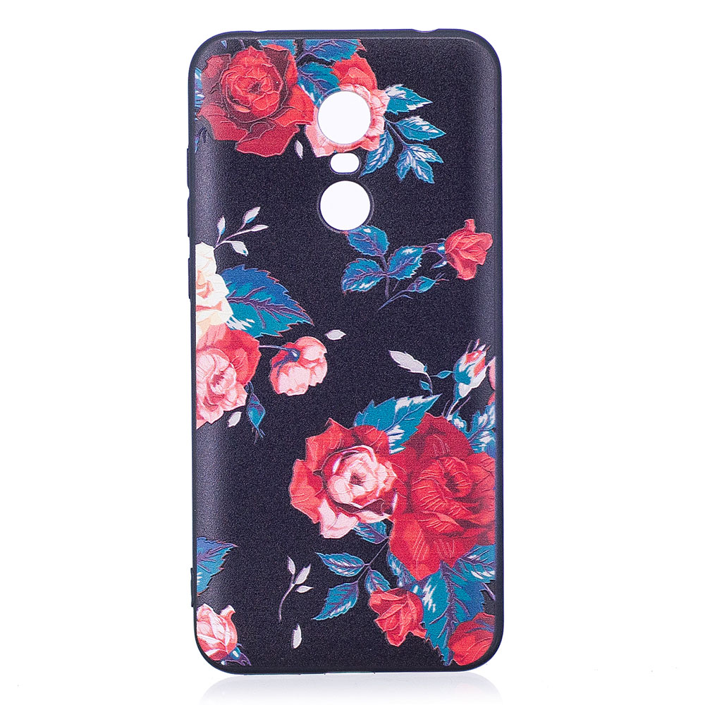 Relief Silicone Case for Xiaomi Redmi 5 Red Flowers Pattern Soft TPU Protective Back Cover