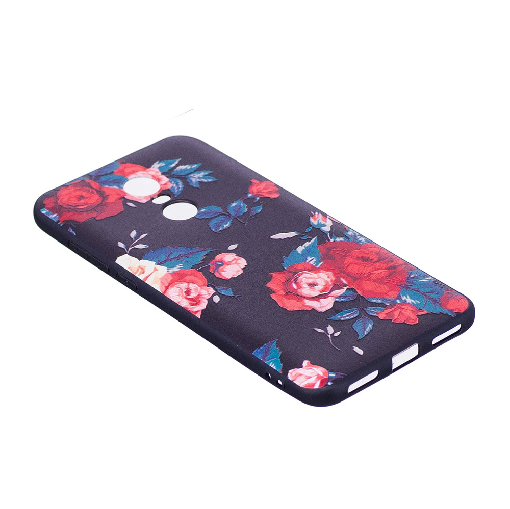 Relief Silicone Case For Xiaomi Redmi 5 Plus Red Flowers Pattern Slim Matte Black Babyskin 5plus New Hot Type Soft Tpu Protective Back Cover
