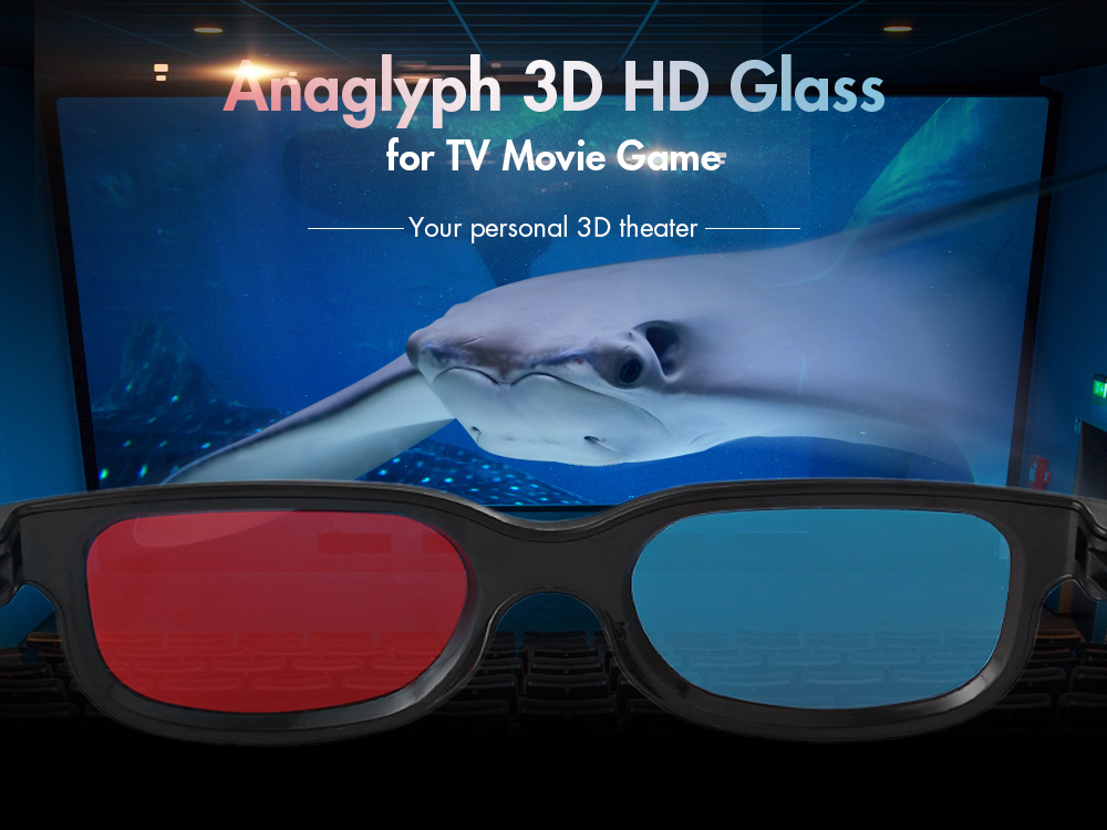 Anaglyph Dimensional 3D Vision Glasses for TV Movie Game - Red Blue