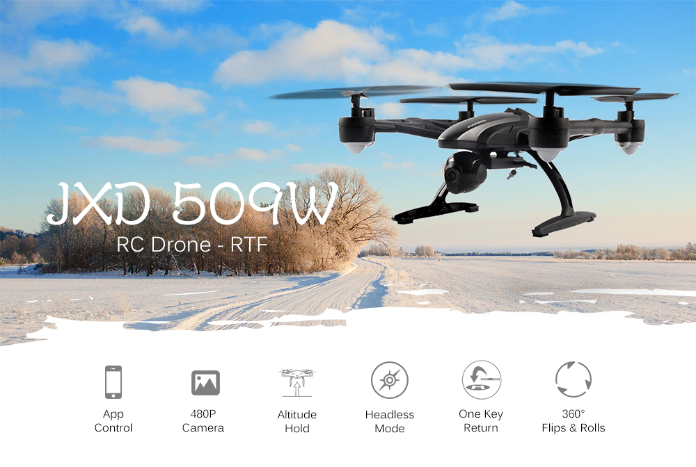 JXD 509W WiFi FPV / APP Control 480P Camera 2.4G 4 Channel 6 Axis Gyro Quadcopter One Key Automatic Return