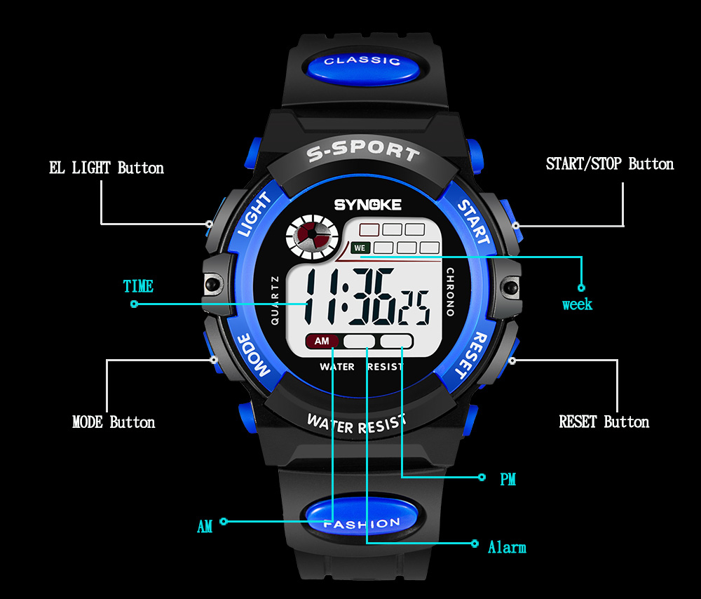 SYNOKE LED Digital Children Watch Kids Watches Girls Boys Clock Child Sport Wristwatch