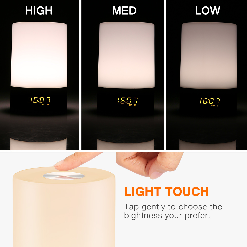 Utorch Wake Up Light Touch Sensitive Clock LED RGB Bedside Lamp