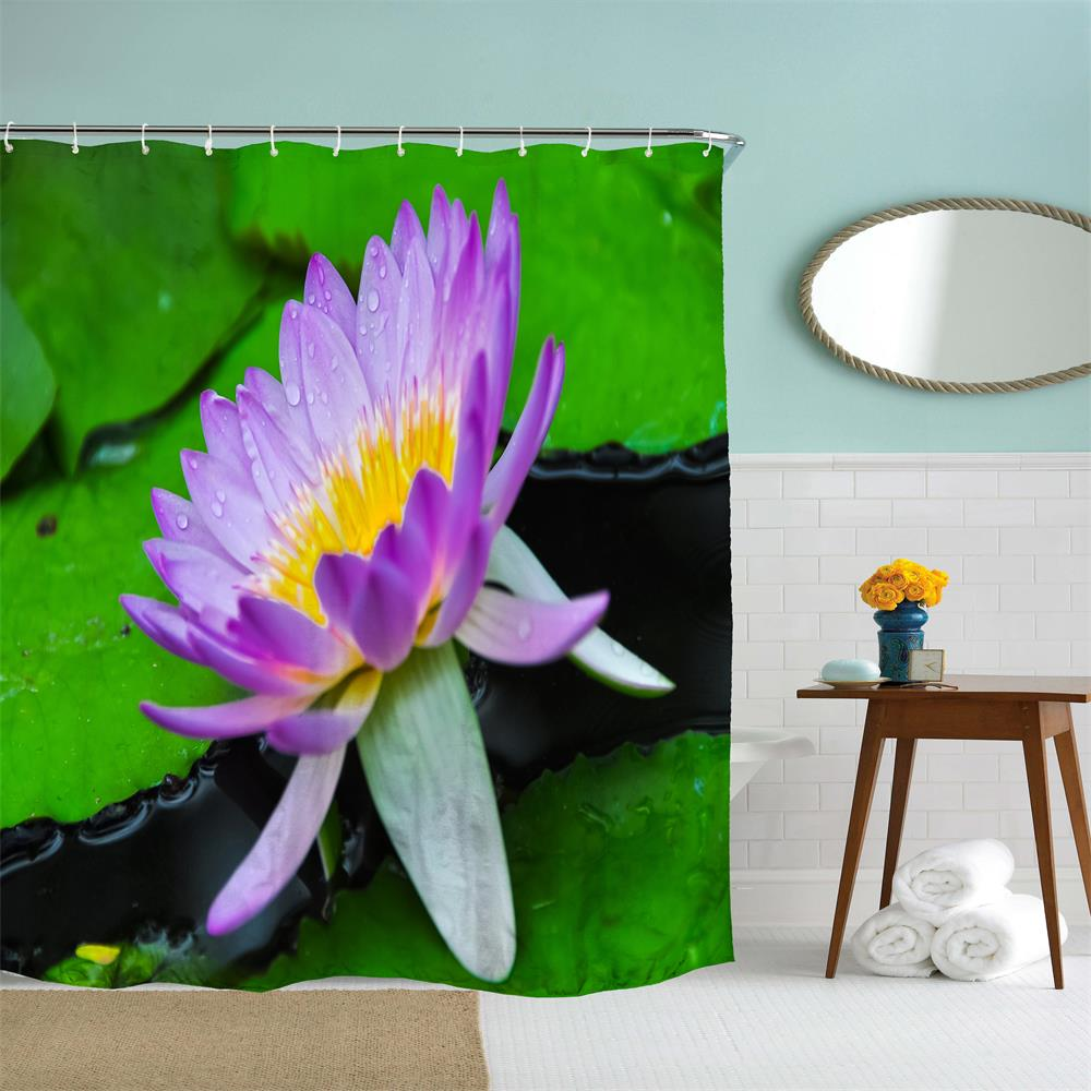 Lotus Language Polyester Shower Curtain Bathroom  High Definition 3D Printing Water-Proof