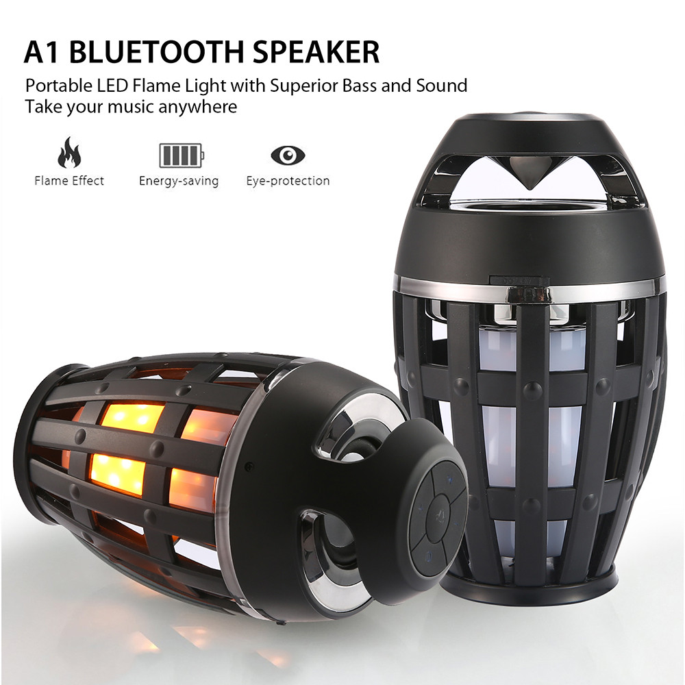 Flame Atmosphere Wireless Speaker Portable Bluetooth Speaker with LED Flickers Stereo Super Bass Outdoor Camping Woofer- Black
