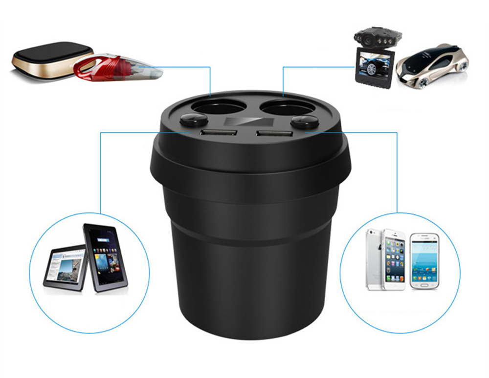 Car Cup 2 USB Port Adapter Universal 2 SOCKET Charger Holder