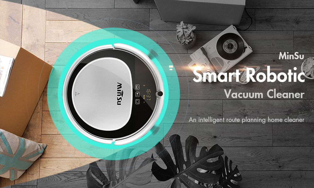 MinSu MSTC09 Smart Navigation Robotic Vacuum Cleaner Remote Control Floor Cleaning Robot - White EU Plug