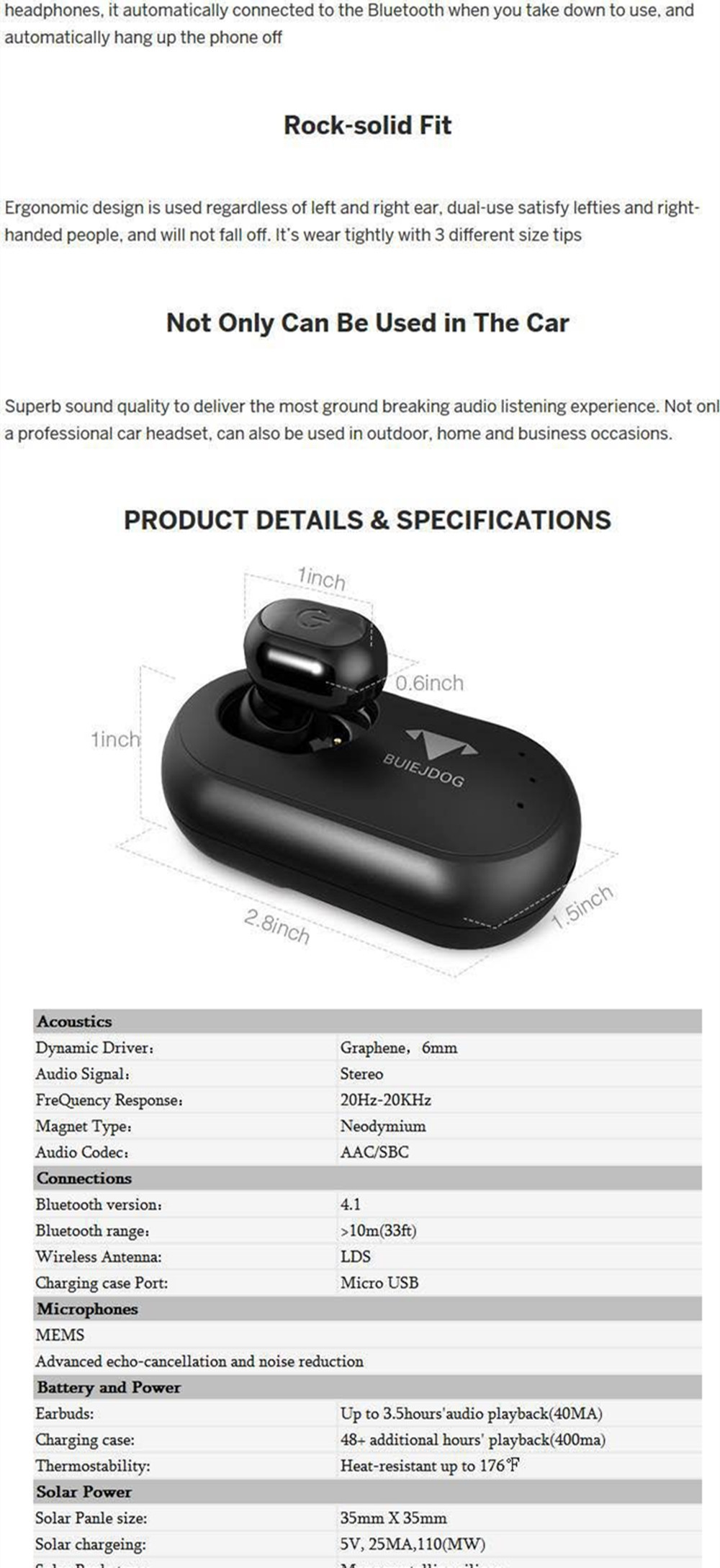 Solar Powered Bluetooth Car Earphone Vehicle-Mounted Car Headset Wireless Earbuds Earphone with Permanent Power Supply