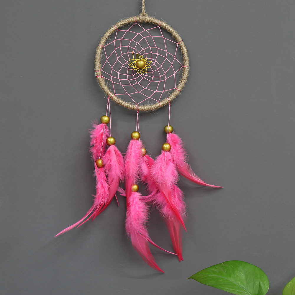 Handmade Pendant Car Ornaments Pink Feather Wall Hangings Dream Catcher