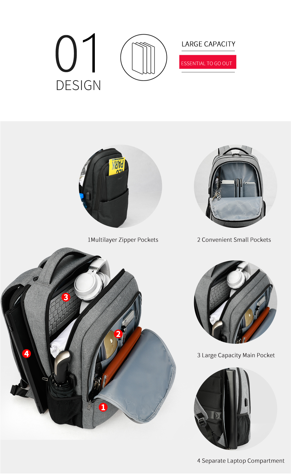 d3a3c9503e 2018 Tigernu Brand New Design Male Mochila 15.6 Anti-theft laptop backpack  USB Charging Backpack