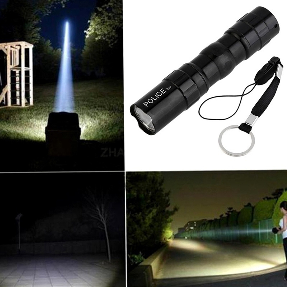Mini Super Bright 3W LED lamp Flashlight Focus Torch Light Waterproof Key Ring R