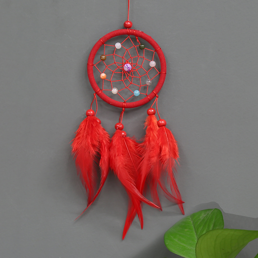 Cute Cat Dream Catcher Hollow Feather Decor Home Wall Hanging Craft for Children