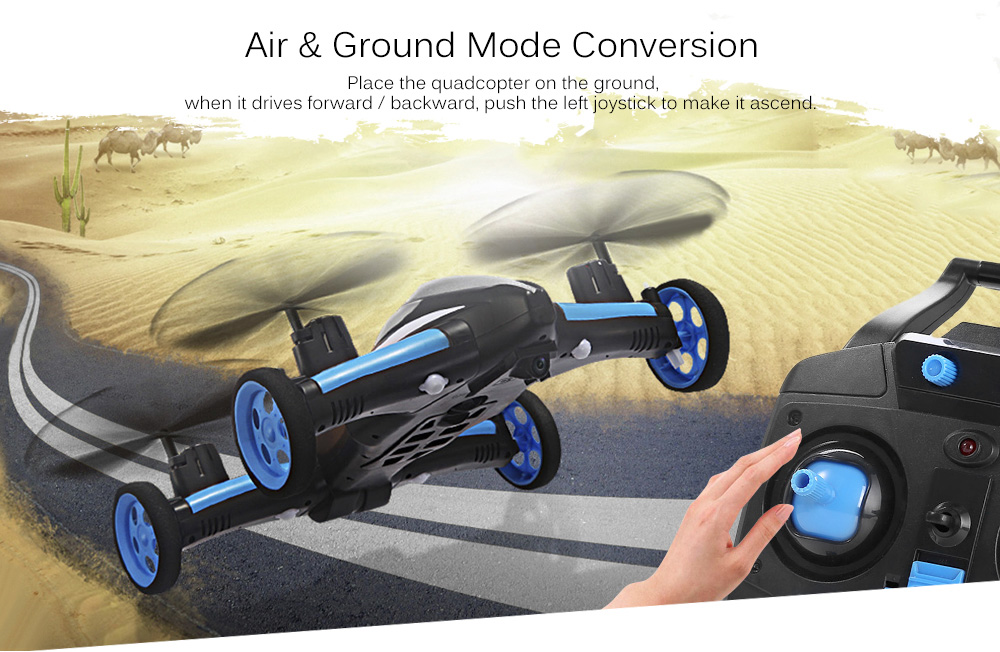 JJRC H23 2.4G RC Quadcopter Land / Sky 2 in 1 6 Axis Gyro UFO Headless Mode / One Key Return Feature- Blue and Black
