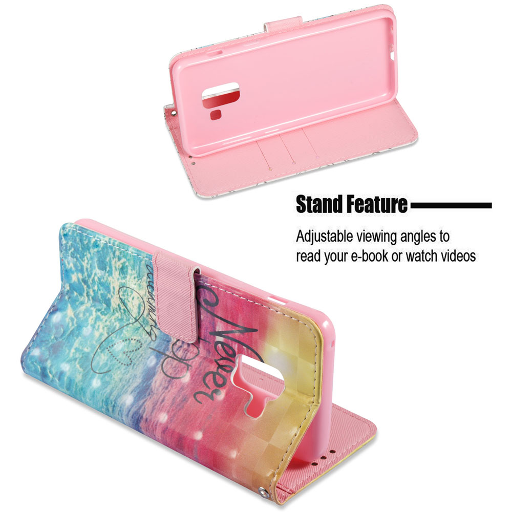 3D Painting Filp Case for Samsung Galaxy A8 2018 Ocean Pattern PU Leather Wallet Stand Cover