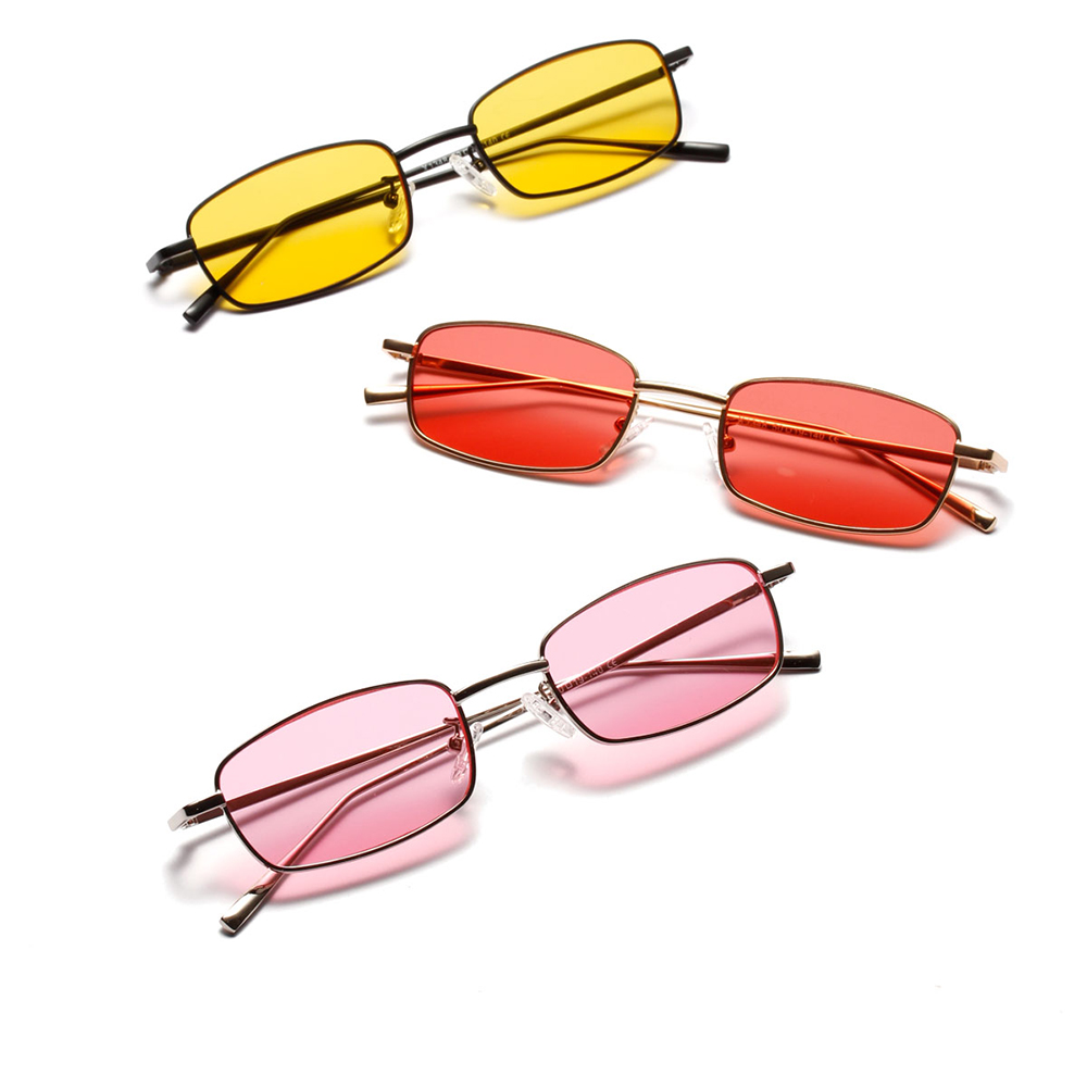 Net Red Hot Style Glasses Female Narrow Edge Metal Sunglasses Male Color Frame Occident Glasses