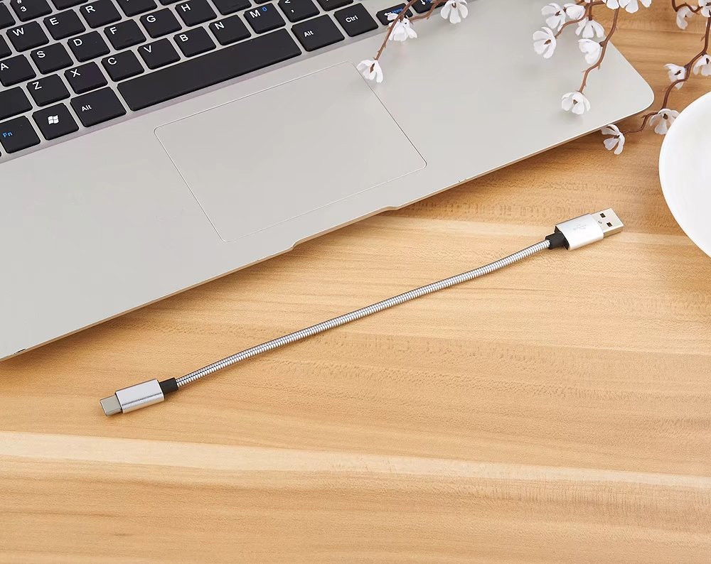 20cm Data Sync Fast Charging Cable for Type-C Devices Metal Spring