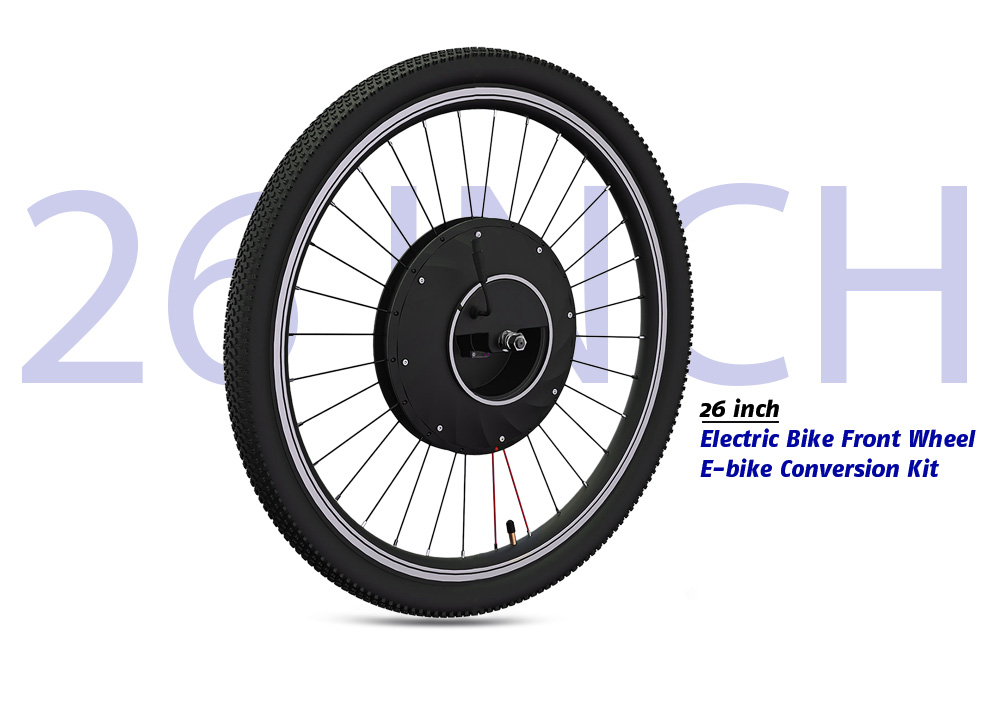 26 Inch Electric Bike Front Wheel E Bicycle Conversion Kit Black