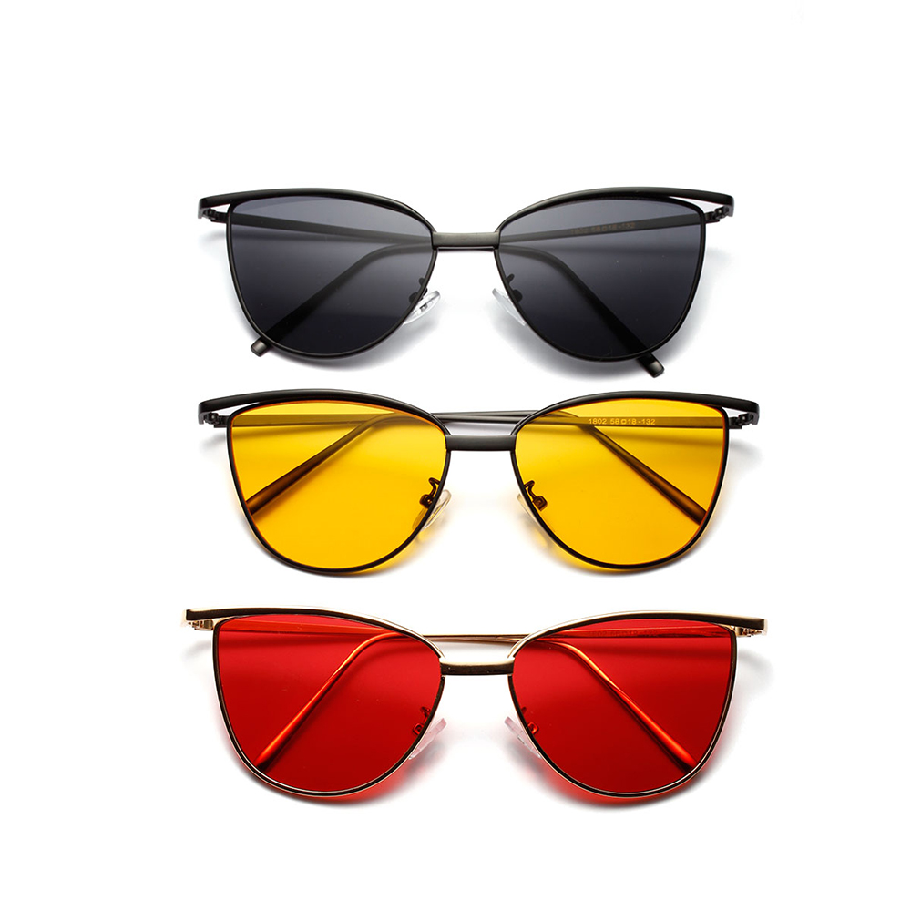 Cat's Eye Hot Style Metal Sunglasses Male Small Box Transparent Color of The Ocean Film Popular