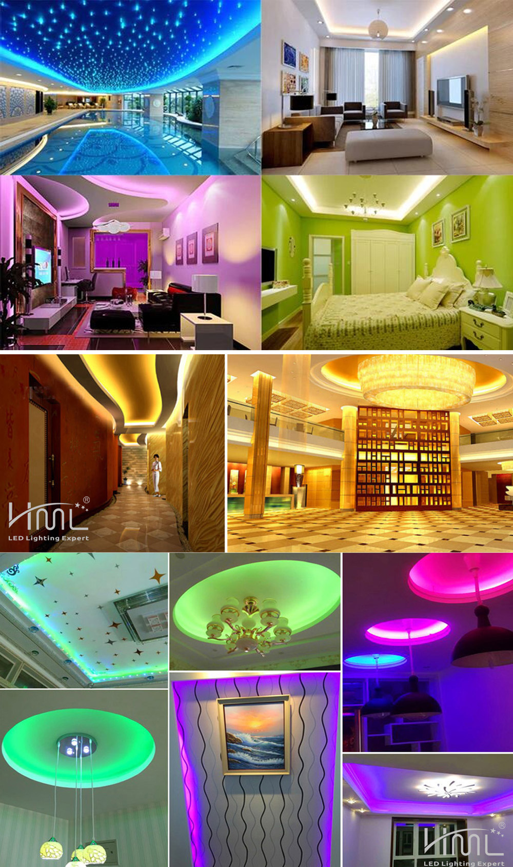 HML 5M 72W 5050 RGB LED Strip Light with 24 Keys Remote Control And US Power Adapter