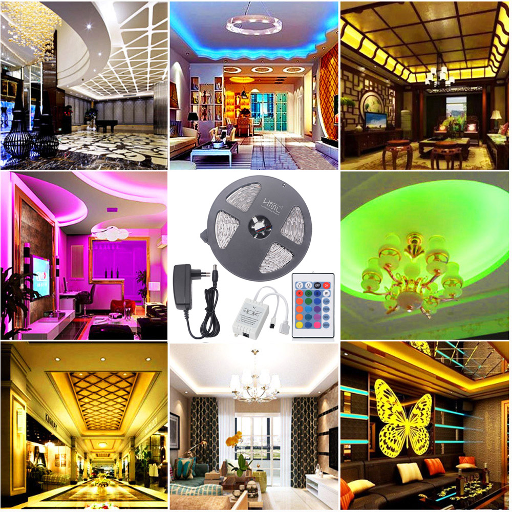 HML 5M 72W 5050 RGB LED Strip Light with 24 Keys Remote Control And EU Power Adapter