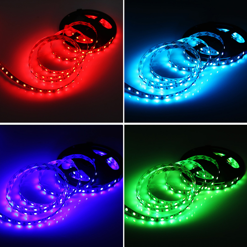 HML 5M 72W 5050 RGB LED Strip Light with 20 Keys Music Remote Control And EU Power Adapter