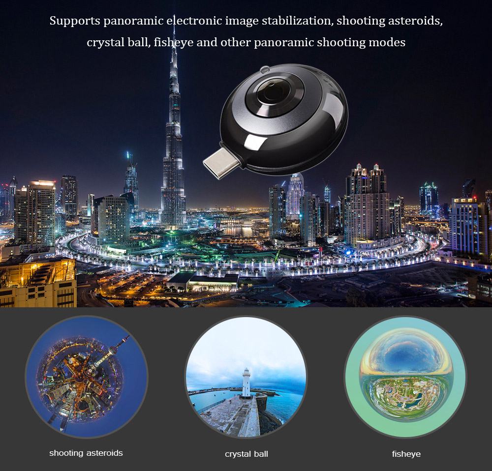 MADV Mini Panoramic Camera for Android Phone Type-C Interface- Black