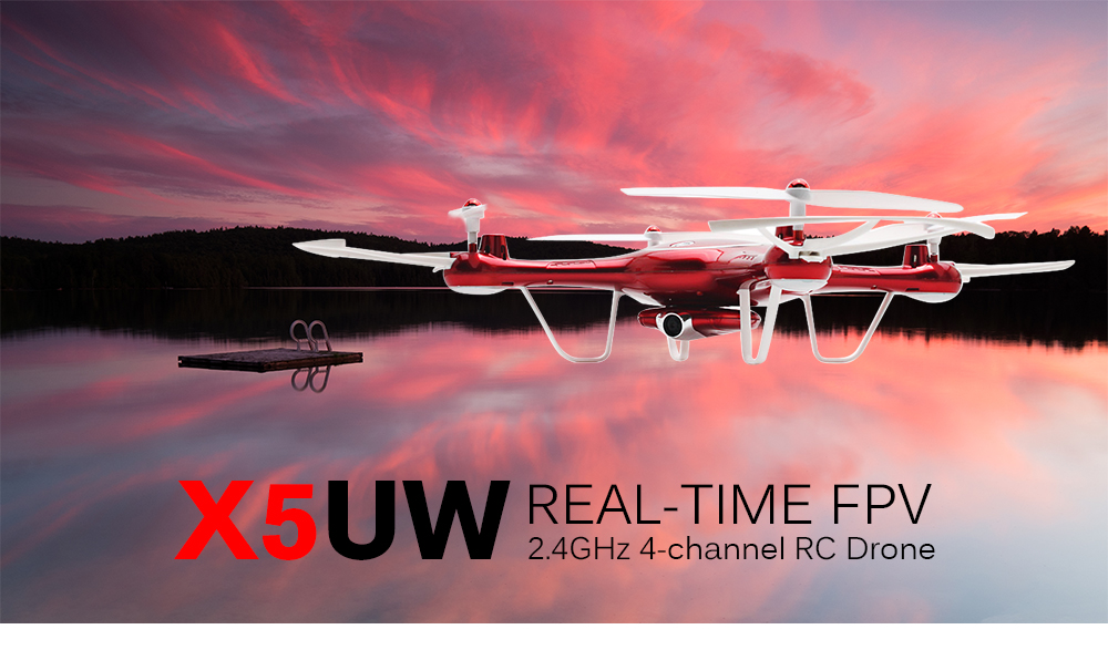 SYMA X5UW WiFi FPV Control HD CAM 2.4G 4CH 6-axis-gyro RC Quadcopter Air Press Height Hold- Red