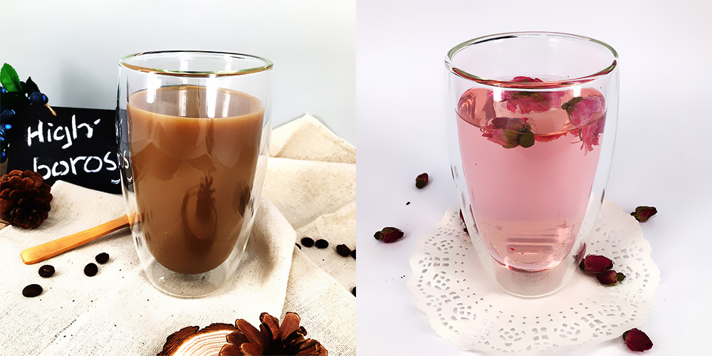 450ml Double Wall Insulated Tumbler Glass Cup for Tea Espresso Water- Transparent