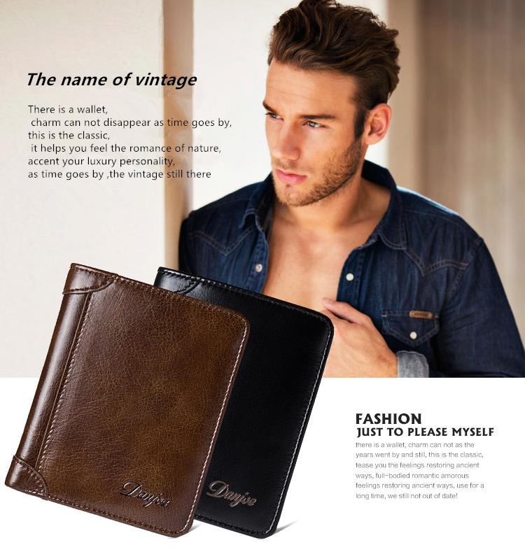 DANJUE New Wallets Men Luxury Genuine Cow Leather Brand Man Purse Vintage Short Big Capacity Business Designer Licence