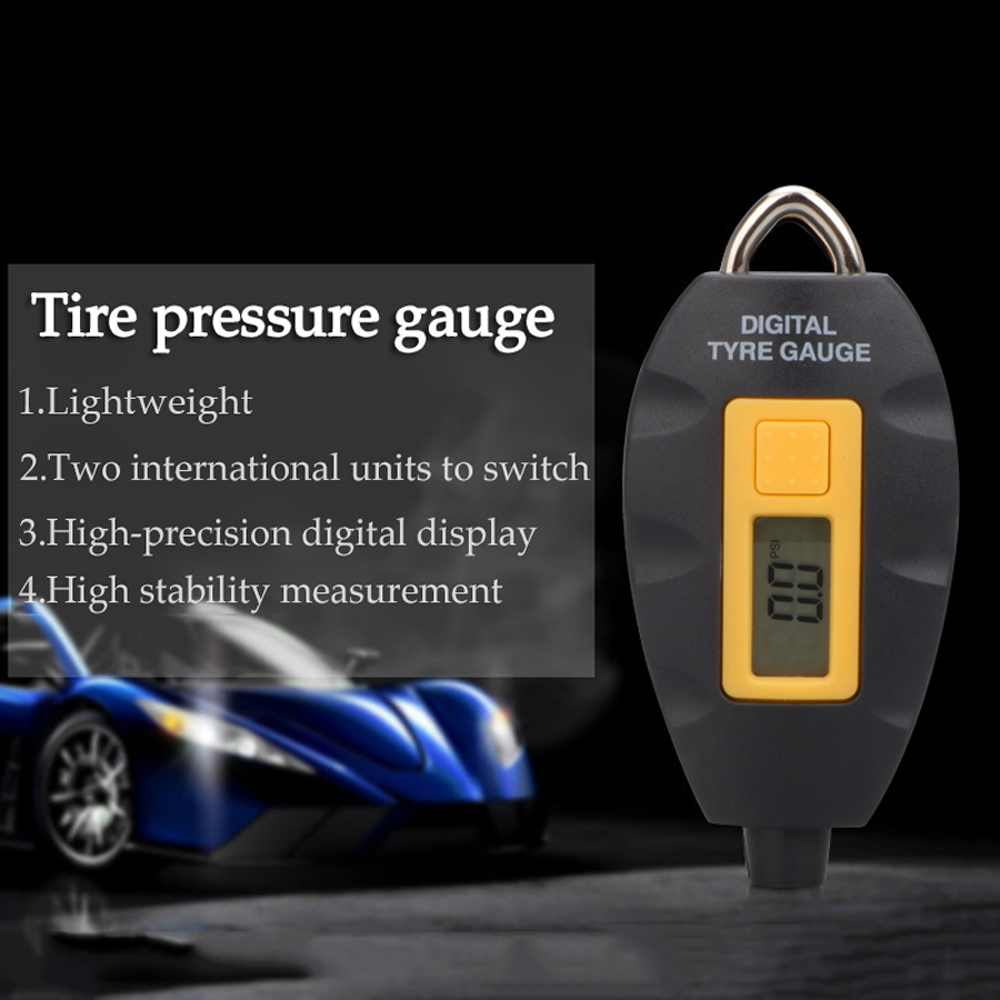 Mini Keychain Digital LCD Tire Tyre Air Pressure Gauge for Car Auto  Motorcycle