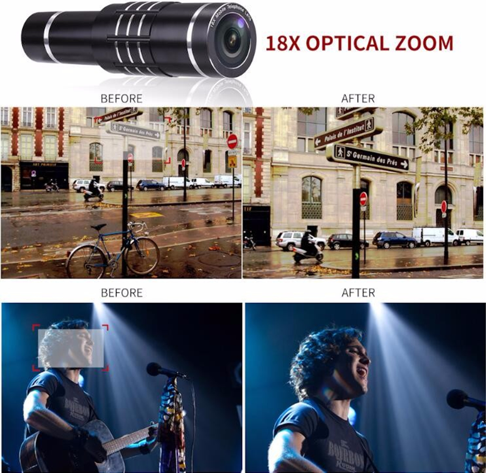Hot Sales Smartphone Camera Lens Universal Clip 18X Optical Zoom Telescope Lens for Mobile Phone with Metal Stents