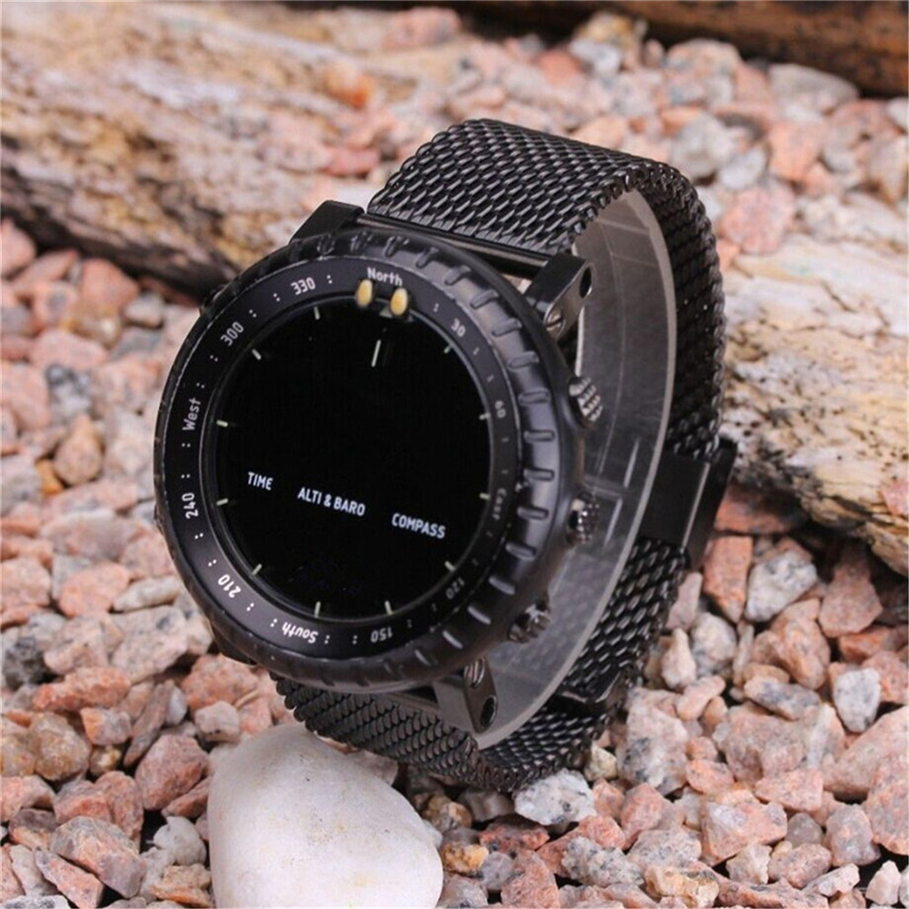 For Suunto Core Milan weave 24mm steel Strap Watch Band and Lugs Adapters kit