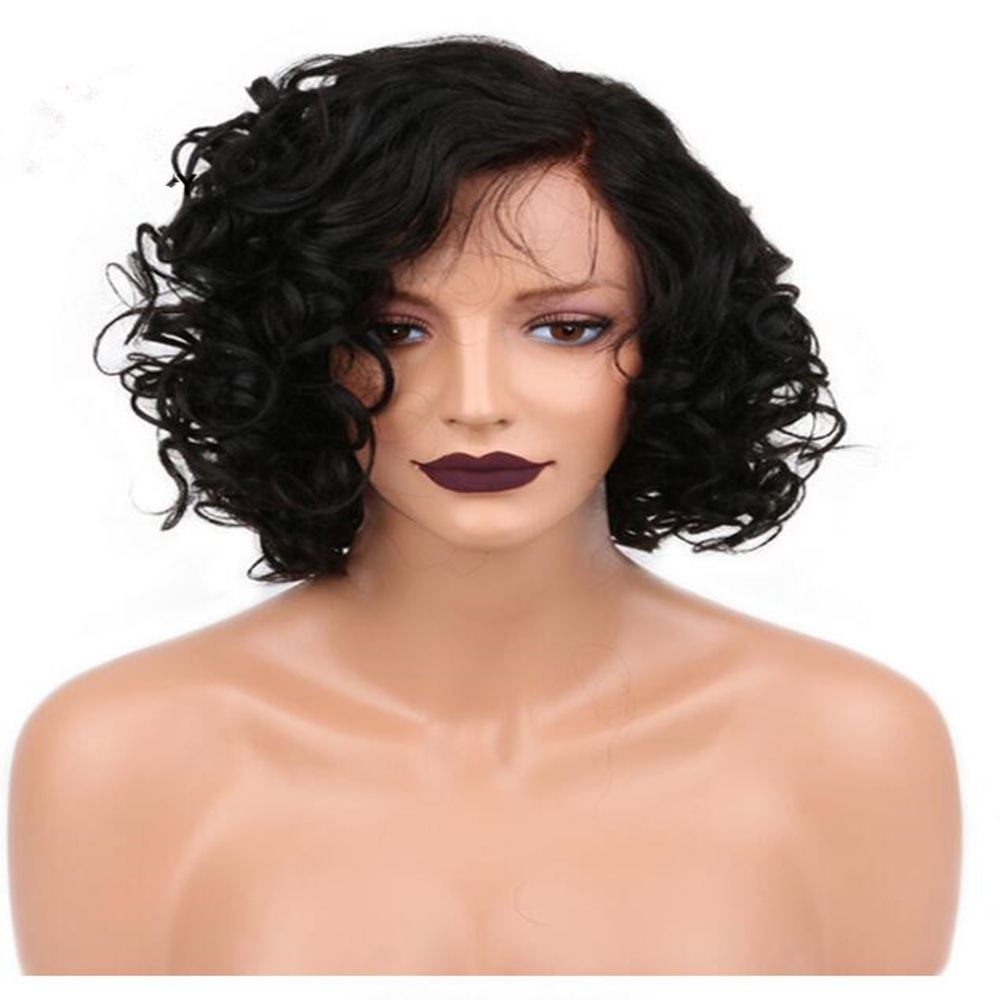 Short Brazilian Human Hair Bob Wigs For Black Women 130percent Density With Natural Hairline