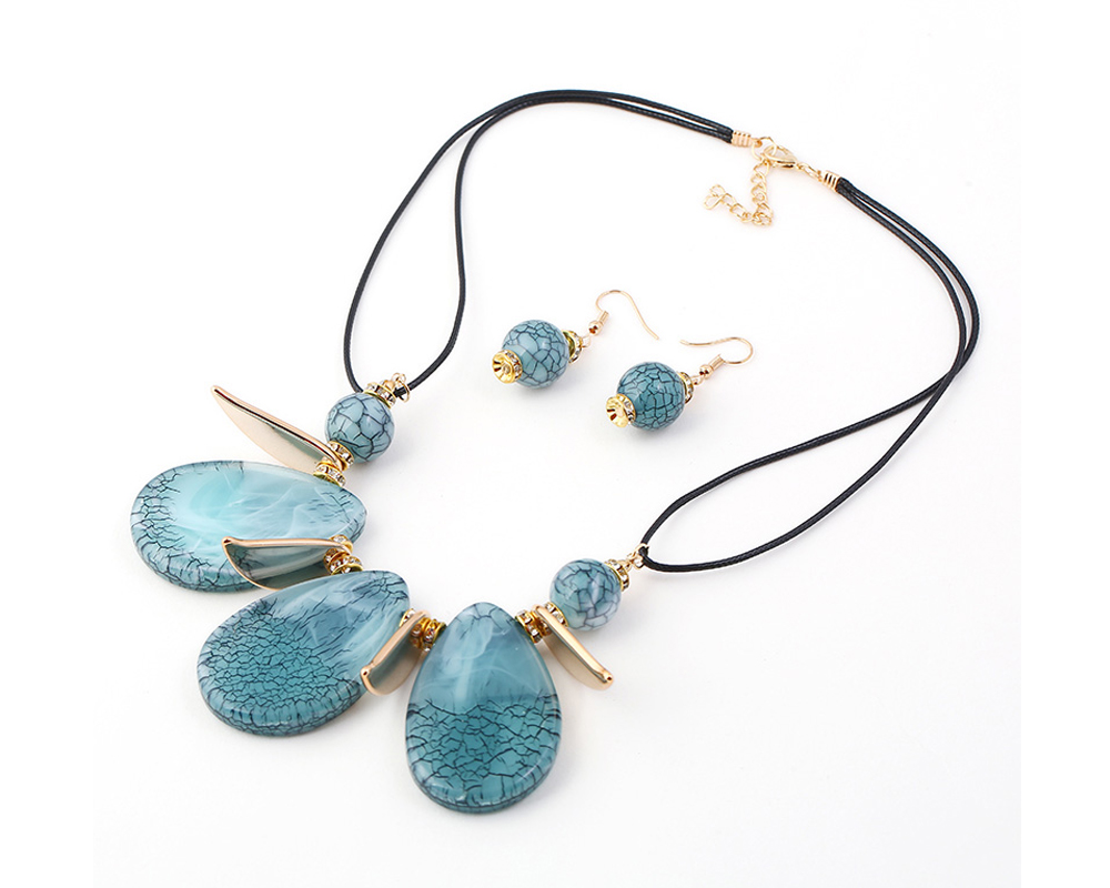 2018 New Design Boho Classic Big Water-Drop Resin Pendents Necklace Fashion Charm Set Necklace Jewelry For Women Wedding