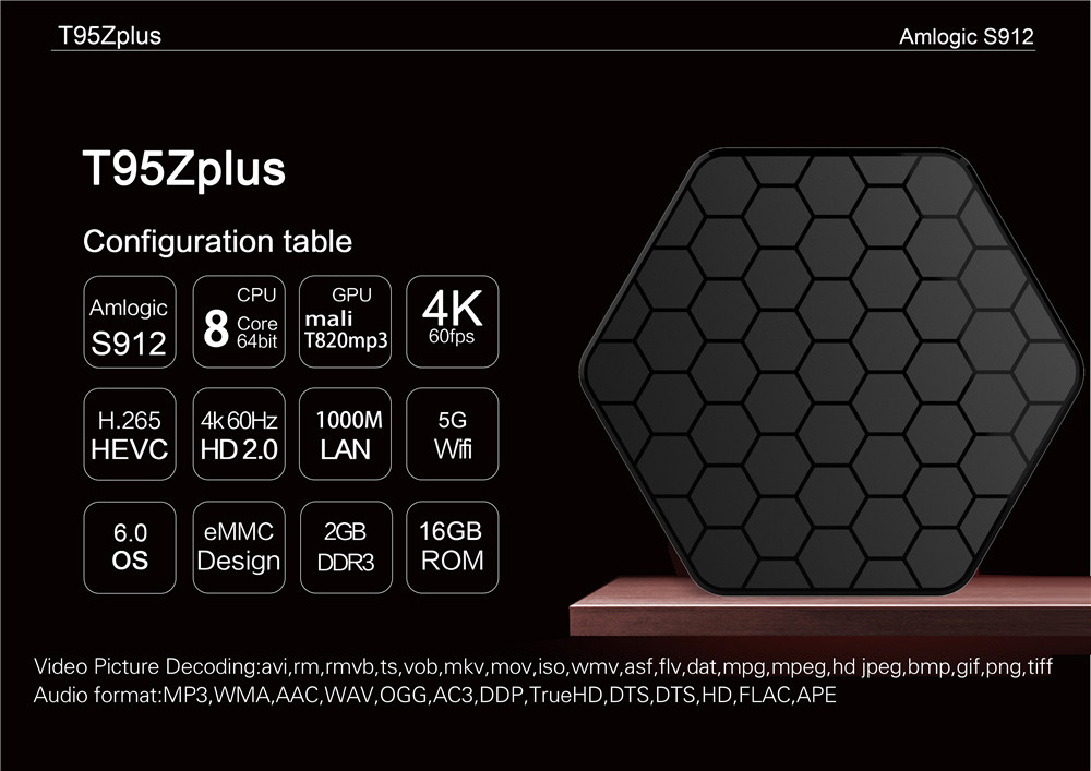 2018 Hot Selling Amlogic S912 Android 7 1 TV Box Media Player T95Z PLUS  5GWIFI