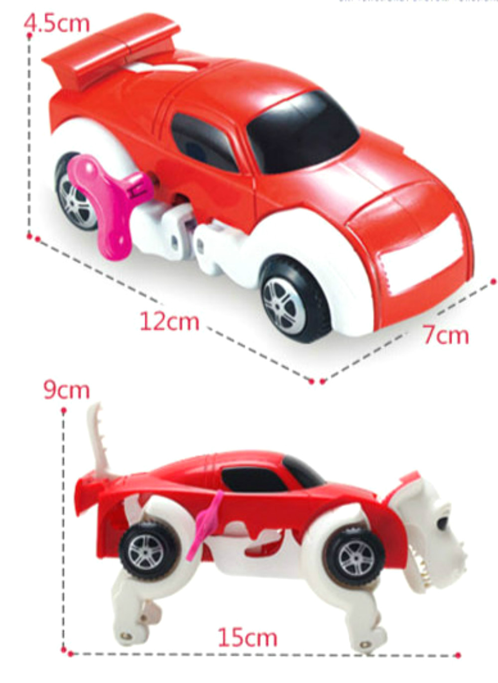 New Automatic Transform Dinosaur Car Vehicle Clockwork Wind Up Toy for Children