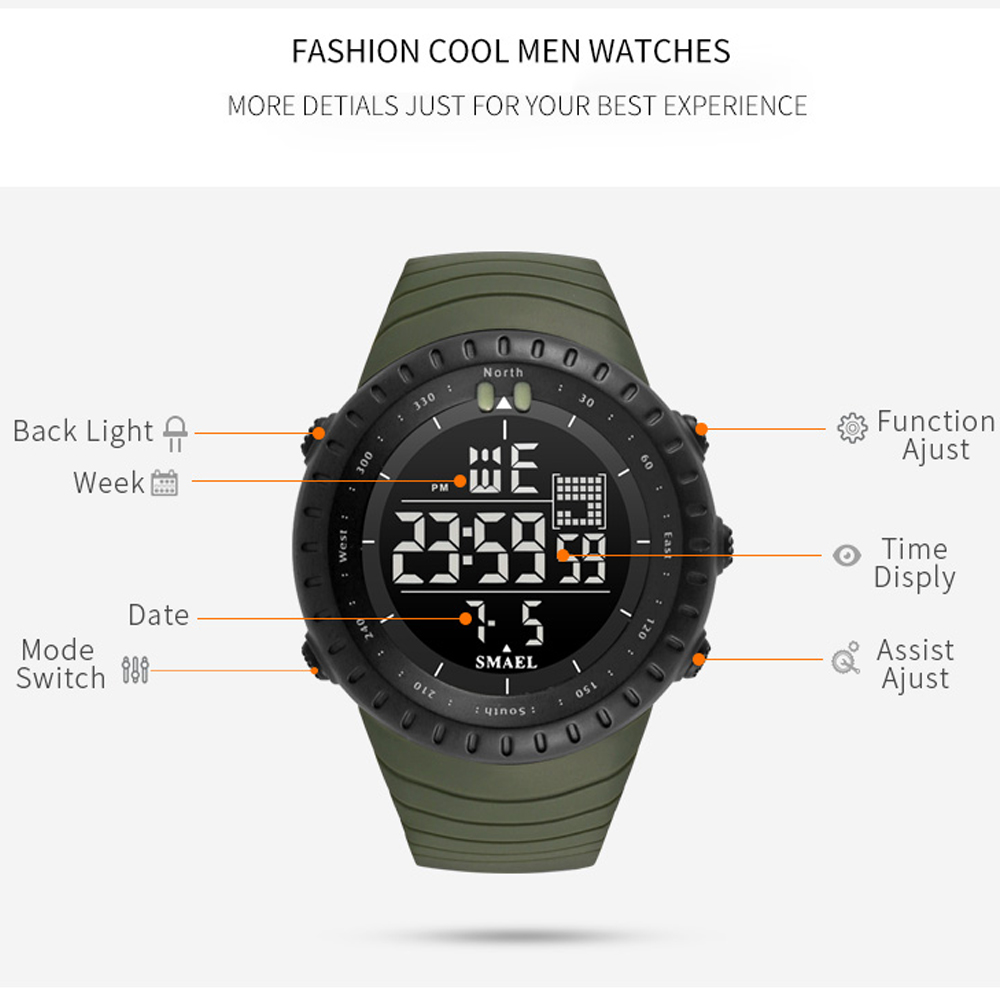 SMAEL 1237 Fashion  Multi-Functional Waterproof Electronic LED Sport Watch