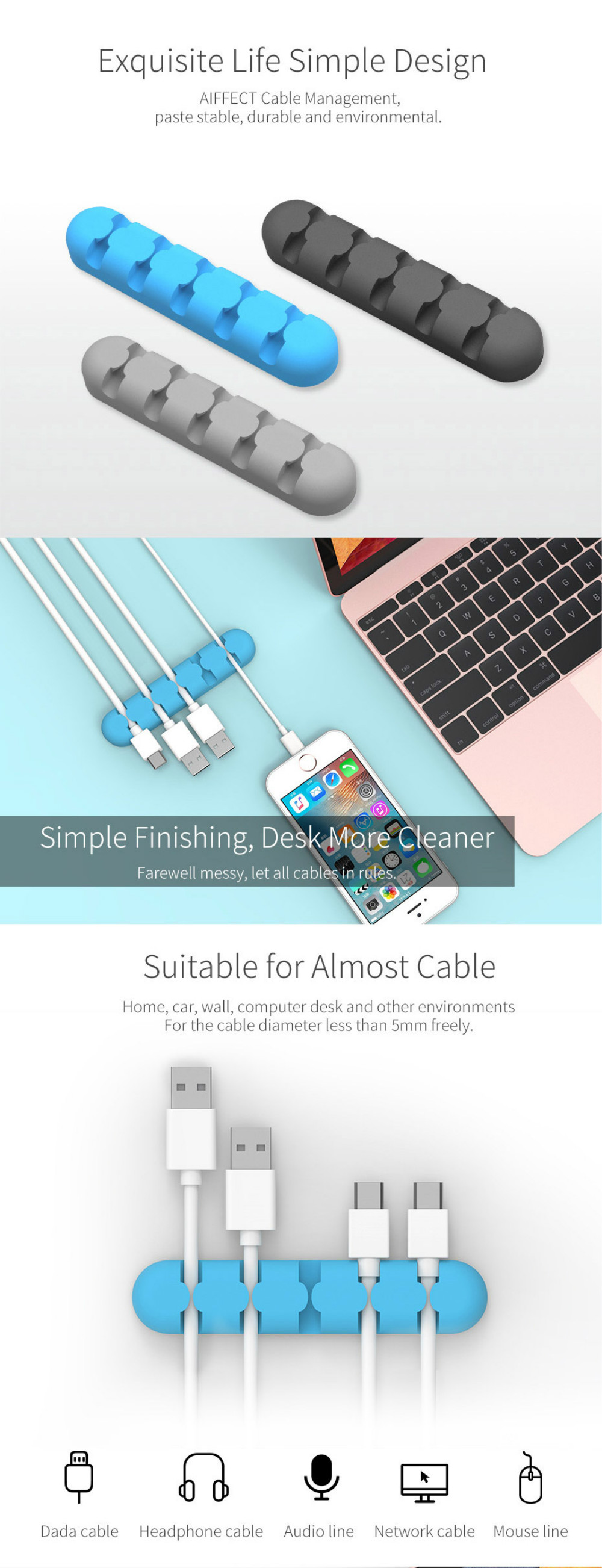 AIFFECT M5S-G1 Cable Winder Earphone Cable Organizer Wire Storage ...